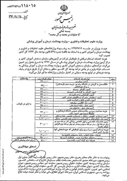 هزینه ثبت نام در آزمون های سراسری سال 97 سازمان سنجش