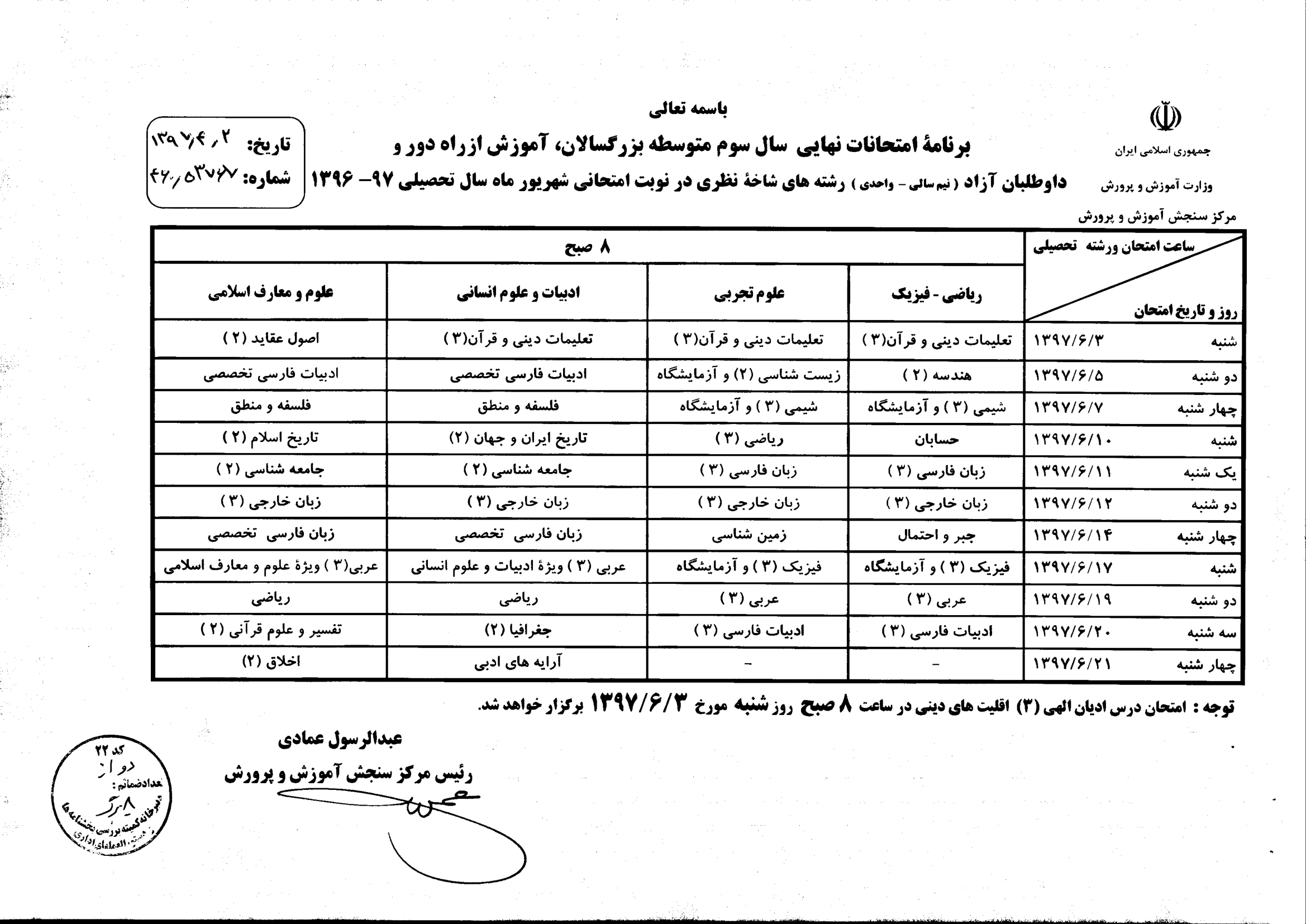 برنامه امتحانات نهایی سال سوم و پیش دانشگاهی شهریور 97