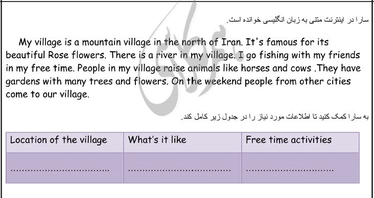 نمونه سوالات زبان انگلیسی هشتم نوبت دوم با جواب1